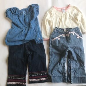 Lot of 4 girls clothes. 2 tops 2 bottoms EUC.